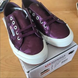 Superga metallic dark purple sneakers size 6